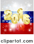 Vector Illustration of a 3d Gold 2016 Burst and Fireworks over a Russian Flag by AtStockIllustration