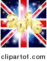 Vector Illustration of a 3d Gold 2016 New Year Burst and Fireworks over a Union Jack Flag by AtStockIllustration