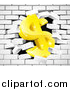 Vector Illustration of a 3d Gold Dollar Currency Symbol Breaking Through a White Brick Wall by AtStockIllustration
