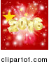 Vector Illustration of a 3d Gold New Year 2016 Burst over a Chinese Flag and Fireworks by AtStockIllustration