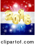 Vector Illustration of a 3d Gold New Year 2016 Burst over a Dutch Flag and Fireworks by AtStockIllustration