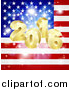 Vector Illustration of a 3d Gold New Year 2016 Burst over an American Flag and Fireworks by AtStockIllustration