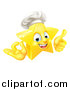 Vector Illustration of a 3d Happy Golden Chef Star Emoji Emoticon Character Giving a Thumb up and Gesturing Ok by AtStockIllustration