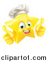 Vector Illustration of a 3d Happy Golden Chef Star Emoji Emoticon Character Giving Two Thumbs up by AtStockIllustration