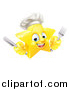 Vector Illustration of a 3d Happy Golden Chef Star Emoji Emoticon Character Holding Cutlery by AtStockIllustration