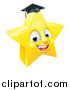 Vector Illustration of a 3d Happy Golden Graduate Star Emoji Emoticon Character by AtStockIllustration