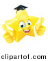 Vector Illustration of a 3d Happy Golden Graduate Star Emoji Emoticon Character Giving Two Thumbs up by AtStockIllustration