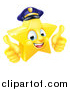 Vector Illustration of a 3d Happy Golden Police Office Star Emoji Emoticon Character Wearing a Hat and Giving Two Thumbs up by AtStockIllustration