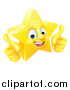 Vector Illustration of a 3d Happy Golden Star Emoji Emoticon Character Giving Two Thumbs up by AtStockIllustration