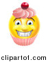 Vector Illustration of a 3d Happy Yellow Male Smiley Emoji Emoticon Face Cupcake by AtStockIllustration