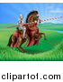 Vector Illustration of a 3d Knight Holding a Jousting Lance on a Rearing Brown Horse in a Valley by AtStockIllustration