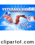Vector Illustration of a 3d Long Rippling American Flag with Veterans Day Honoring All Who Served Thank You Text on Sky by AtStockIllustration