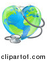 Vector Illustration of a 3d Medical Stethoscope Around a Heart Earth Globe by AtStockIllustration