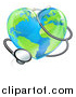 Vector Illustration of a 3d Medical Stethoscope Around a Heart World Earth Globe by AtStockIllustration
