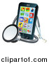 Vector Illustration of a 3d Medical Stethoscope Around a Smart Phone with Apps on the Screen by AtStockIllustration