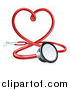 Vector Illustration of a 3d Medical Stethoscope Forming a Red Love Heart by AtStockIllustration