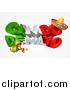 Vector Illustration of a 3d Mexican Flag Colored Happy Cinco De Mayo Design with a Sombrero Hat and Maracas by AtStockIllustration