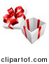 Vector Illustration of a 3d Open Gift Box with a Red Bow and Ribbons by AtStockIllustration