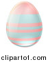 Vector Illustration of a 3d Pastel Blue and Pink Easter Egg with Stripes by AtStockIllustration