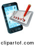 Vector Illustration of a 3d Pencil and Survey Check List Emerging from a Smart Cell Phone Screen by AtStockIllustration