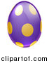 Vector Illustration of a 3d Purple Easter Egg with Golden Dots by AtStockIllustration