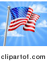 Vector Illustration of a 3d Rippling American Flag on a Silver Pole Against Blue Sky with Rays by AtStockIllustration