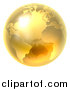 Vector Illustration of a 3d Shiny Gold Earth Globe by AtStockIllustration