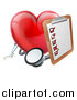 Vector Illustration of a 3d Shiny Red Love Heart with a Clipboard and Stethoscope by AtStockIllustration