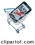 Vector Illustration of a 3d Smart Phone with Black Friday Sale Text on the Screen in a Shopping Cart by AtStockIllustration