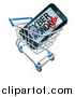 Vector Illustration of a 3d Smart Phone with Cyber Monday Sale Text on the Screen in a Shopping Cart by AtStockIllustration