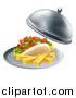 Vector Illustration of a 3d Souvlaki Kebab Sandwich and French Fries Being Served in a Cloche Platter by AtStockIllustration