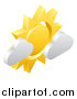 Vector Illustration of a 3d Sun and Cloud Weather Icon by AtStockIllustration