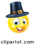 Vector Illustration of a 3d Thanksgiving Pilgrim Yellow Smiley Emoji Emoticon Face Wearing a Hat by AtStockIllustration
