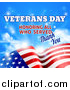 Vector Illustration of a 3d Waving American Flag with Veterans Day Honoring All Who Served Thank You Text and Sky by AtStockIllustration