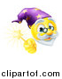 Vector Illustration of a 3d Wizard Yellow Smiley Emoji Emoticon Face Holding a Magic Wand by AtStockIllustration