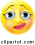 Vector Illustration of a 3d Yellow Female Smiley Emoji Emoticon Face with a Nervous Expression by AtStockIllustration
