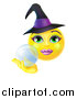 Vector Illustration of a 3d Yellow Female Smiley Emoji Emoticon Witch Holding a Crystal Ball by AtStockIllustration