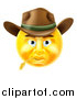 Vector Illustration of a 3d Yellow Male Cowboy Smiley Emoji Emoticon Face Wearing a Hat and Chewing on Straw by AtStockIllustration