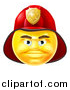 Vector Illustration of a 3d Yellow Male Fireman Smiley Emoji Emoticon Face Wearing a Helmet by AtStockIllustration