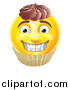Vector Illustration of a 3d Yellow Male Smiley Emoji Emoticon Face Cupcake by AtStockIllustration