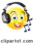 Vector Illustration of a 3d Yellow Male Smiley Emoji Emoticon Face Listening to Music Through Headphones by AtStockIllustration