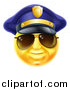 Vector Illustration of a 3d Yellow Male Smiley Emoji Emoticon Face Police Officer Wearing Sunglasses by AtStockIllustration
