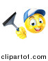 Vector Illustration of a 3d Yellow Male Smiley Emoji Emoticon Window Washer Holding a Squeegee by AtStockIllustration
