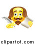 Vector Illustration of a 3d Yellow Shakespeare Smiley Emoji Emoticon Holding a Feather Quill Pen and Scroll by AtStockIllustration