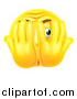 Vector Illustration of a 3d Yellow Smiley Emoji Emoticon Covering His Face and Peeking Through Fingers by AtStockIllustration