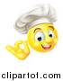 Vector Illustration of a 3d Yellow Smiley Emoji Emoticon Face Chef Gesturing Ok by AtStockIllustration
