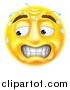Vector Illustration of a 3d Yellow Smiley Emoji Emoticon Face Looking Stressed, Worried or Embarassed by AtStockIllustration