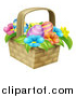 Vector Illustration of a Basket of Easter Eggs and Colorful Flowers by AtStockIllustration