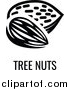Vector Illustration of a Black and White Food Allergen Icon of Tree Nuts over Text by AtStockIllustration