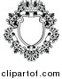 Vector Illustration of a Black and White Ornate Vintage Floral Frame with a Crown by AtStockIllustration